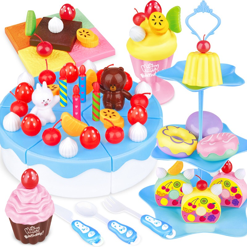 39-86Pcs DIY Pretend Play Fruit Cutting Birthday Cake Kitchen Food Toys cocina de juguete toys Pink Blue Girl Gift for Children