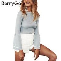 BerryGo Elegant Knitted Pullover Sweater Women Warm Gray Long Sleeve Jumper Autumn Winter 2017 Black Knitting