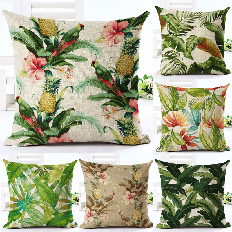 Tropical Pineapple Green Leaves Flowers Throw Pillow Cover