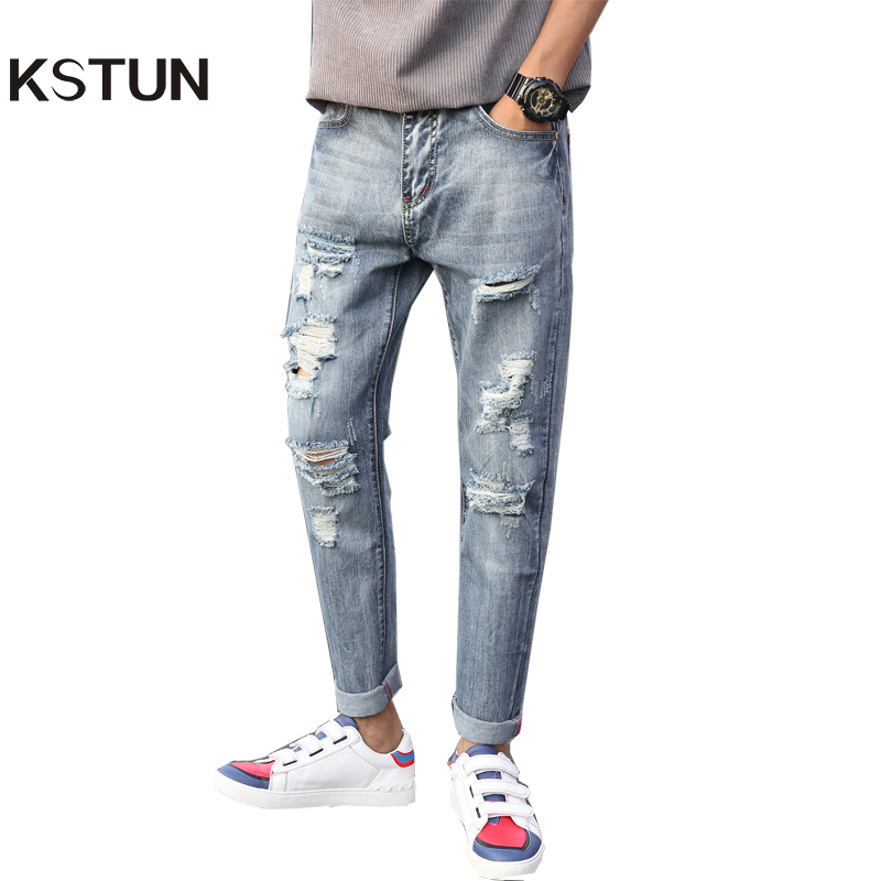 2017 New Arrival Men Jeans Ripped Broken Man Hip Hop Brand Clothing Straight Slim Fit Tapered Light Blue Trendy Large Size 38 40 new arrival men jeans hollow out ripped distressed jeans man denim blue stretch slim fit hip hop fashion casual