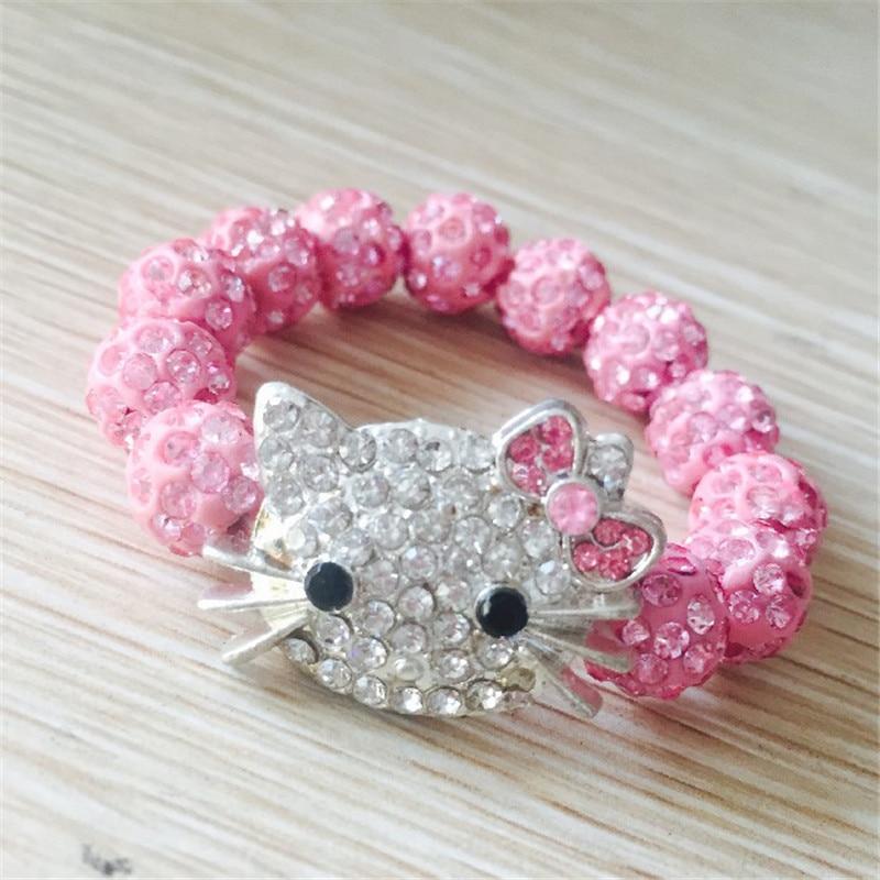 6 PCS= 1 lot Hello Kitty Bracelets for Children Kids Handmade Rope Chain Wrap Charm Bracelets Bangles