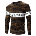 On sale Mens Pullover Sweater Knitted Patchwork brand clothing Warm men sweater O-Neck Coffee Color Plus Size