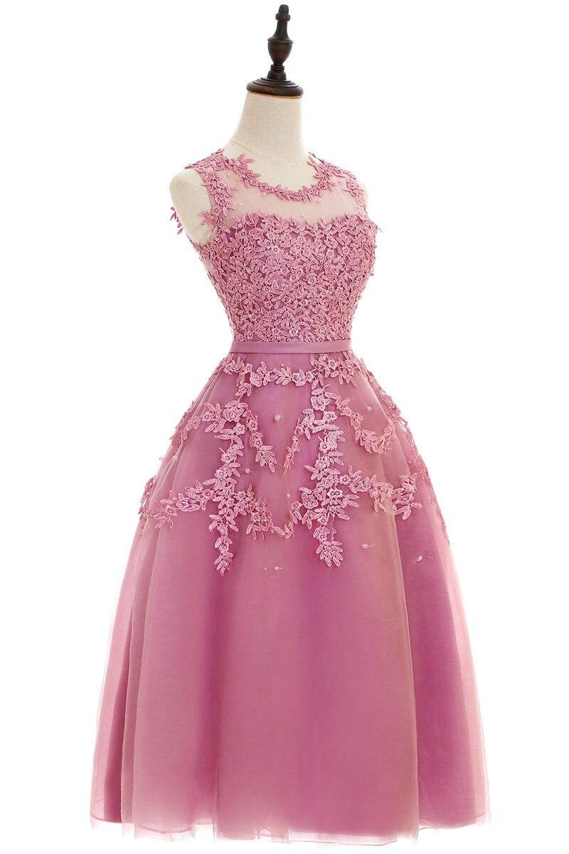 Pas cher moins De $50 rouge élégant en mousseline De soie courte 2019 robes De soirée dentelle Appliques perlée Robe De soirée robes De bal