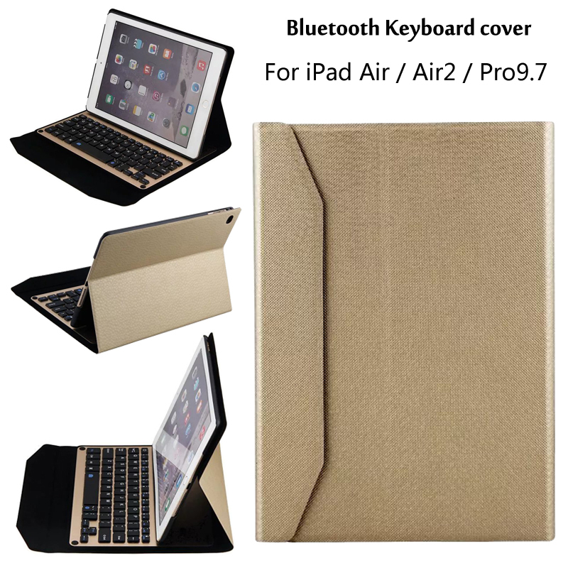 New 2017 For iPad 5 / 6 / Air / Air 2 / Pro 9.7 Tablet Ultra thin aluminum alloy Wireless Bluetooth Keyboard Case Cover + Gift 2017 new leather case cover beautiful gift new 1pc for ipad pro 12 9inch ultra aluminum bluetooth keyboard with pu kxl0421