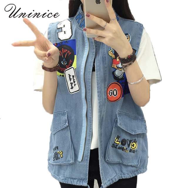 1cd18ce7cfc666 UNINICE Fashion Sleeveless Girls OUT Jackets Korean Style Cartoon Appliques  Elastic Lace-Up Denim Jacket Women Outwear Jacket