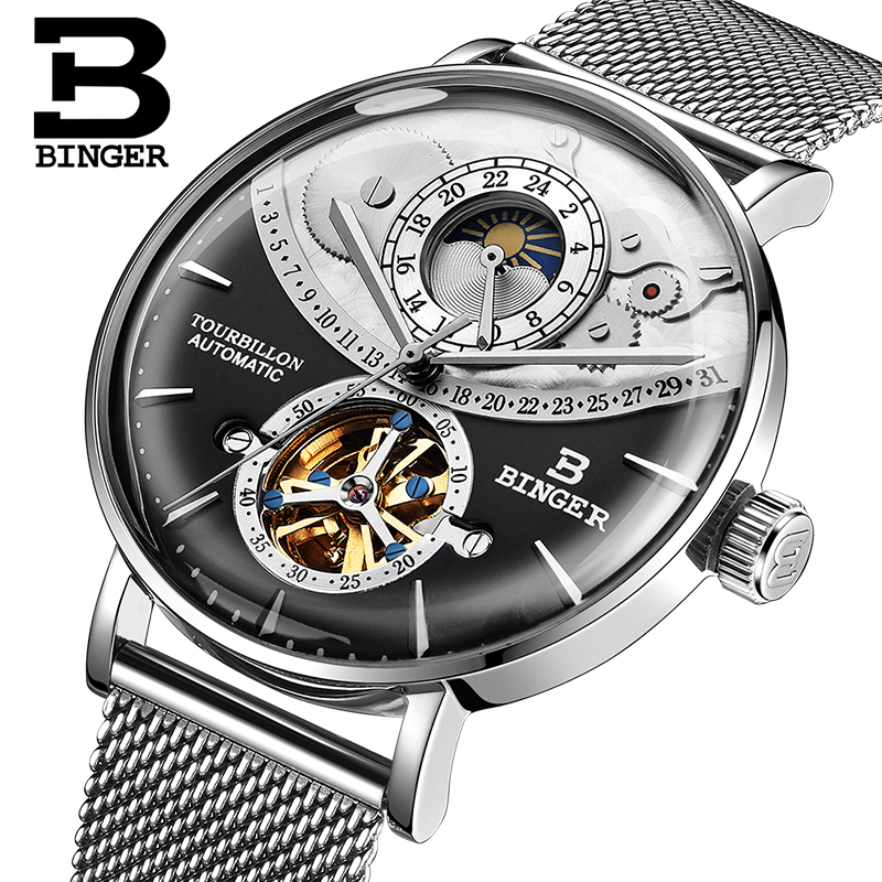 Switzerland Watch Men BINGER Automatic Mechanical Men Watches Luxury Brand Sapphire Relogio Masculino Waterproof Men Watch B-1-2 худи b men b men bm001emaqba5