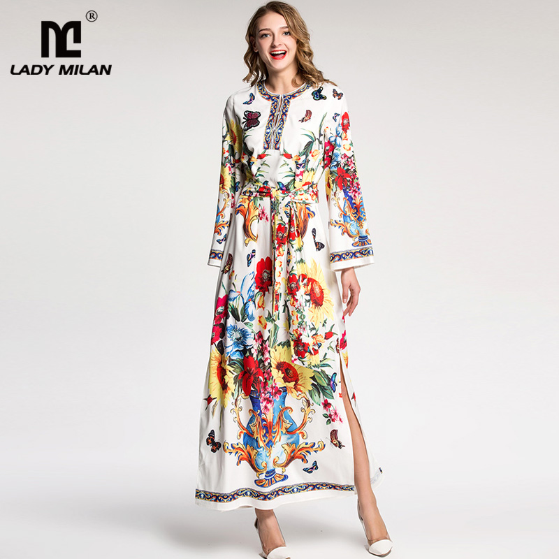Lady Milan 2018 Womens O Neck Long Sleeves Floral Printed Beaded Side Split Sash Belt Appliques Designer Casual Maxi Dresses