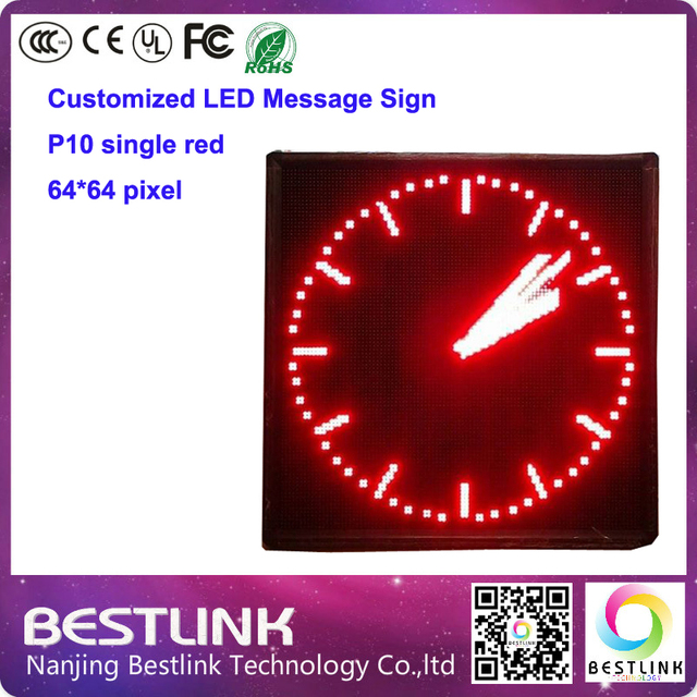 p10 single red outdoor led sign board 64*64 pixel customized led message sign running text taxi top sign screen p10 led display
