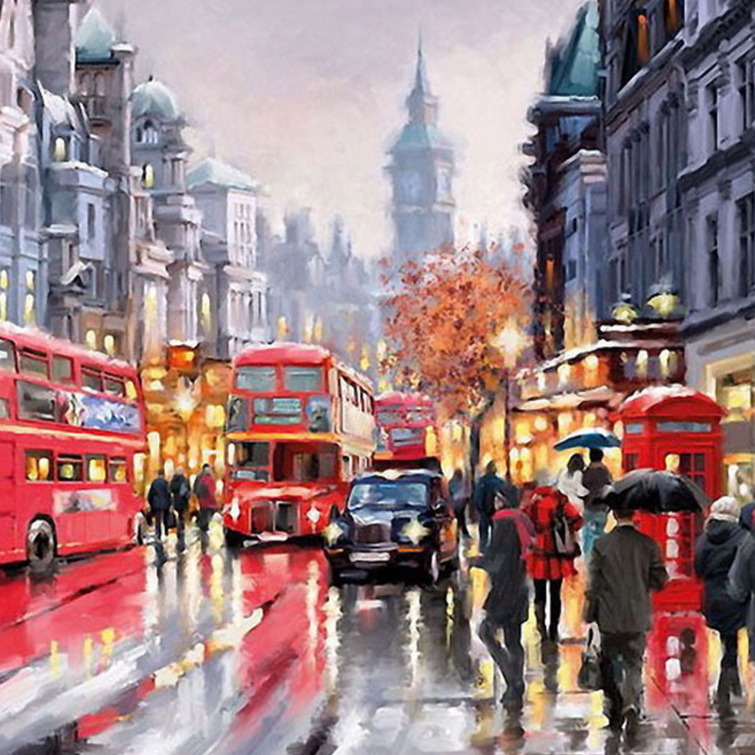 Top DIY Oil Painting By Numbers Frameless Paint On Canvas Wall Pictures Living Room Wall Art Home Decor Rain Shopping Street