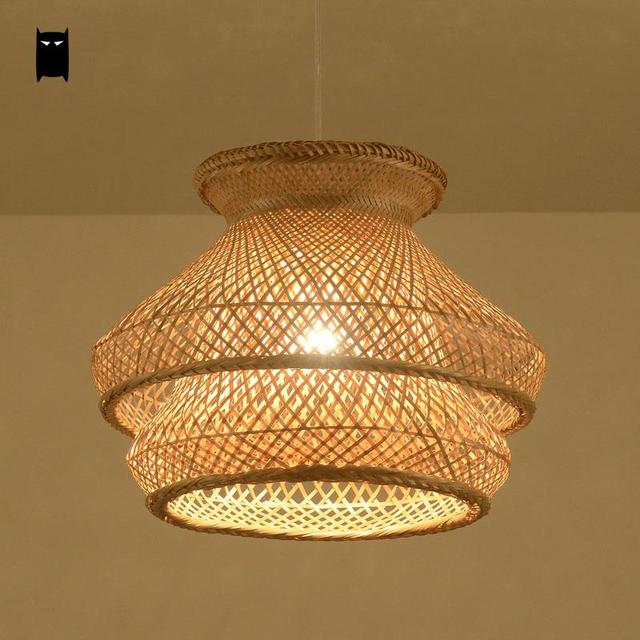 Bamboo Wicker Rattan Shade Chandelier Light Fixture Japanese Vintage ...