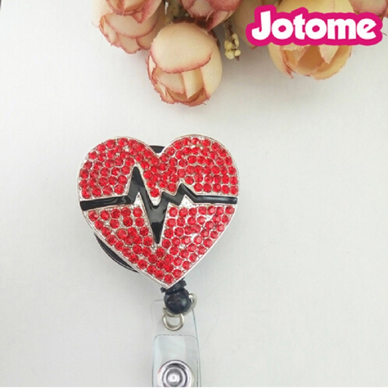 Hot medical Rhinestone Red Heart Pumping Retractable Reel Plastic Badge Holder for Nurse, Teacher Other Uniform