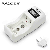 rechargeable battery charger 2 slots nimh nicd battery charger for aa aaa 9v 6F22 battery with LCD display