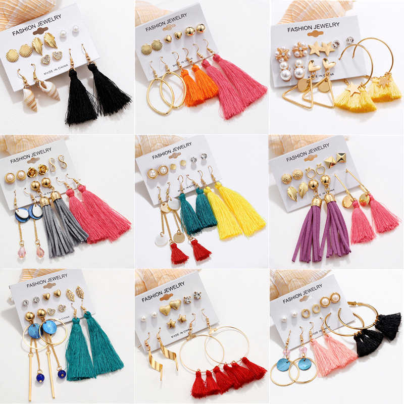 ZOSHI Fashion Bohemian Earrings Long Tassel Drop Earrings Set For Women 2019 Metal Set Earrings Women Brincos Female Jewelry