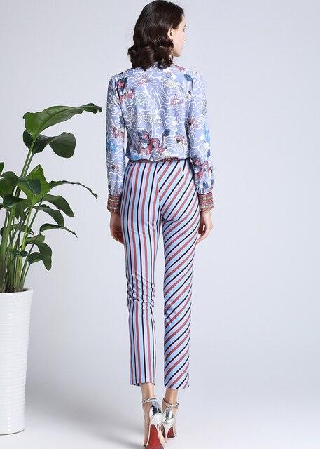 Conjunto dos piezas blusa primavera pantalón rayas 3