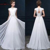 Custom Made Wedding Dresses A Line Floor Length Chiffon Lace Beaded Elegant Robe De Mariee 2018