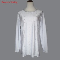 Professional latin dance Shirt Male Ballroom Dance top Spandex diamond Clothes For men's Latin Dancing practice clothes