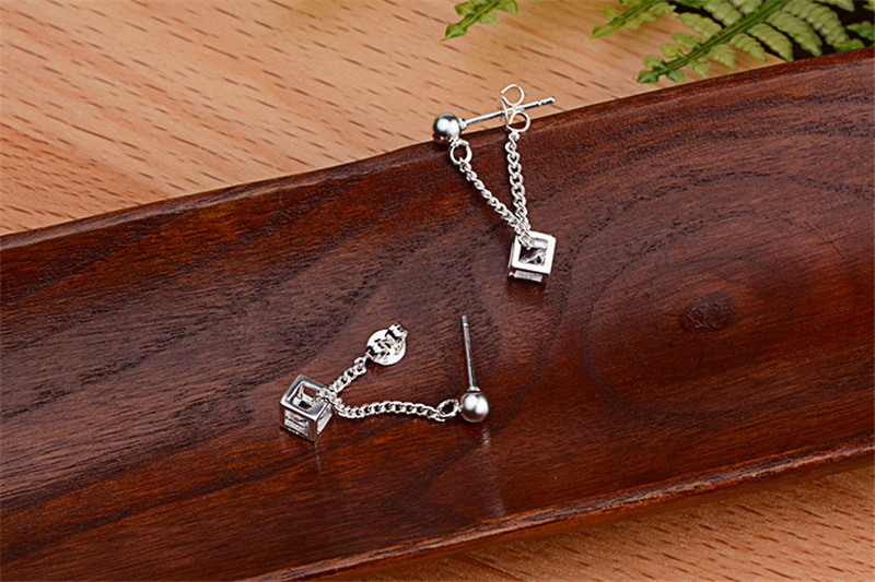 LUKENI Charm Female 925 Silver Earrings Jewelry New Fashion Crystal Cube Women Drop Earrings Accessories Lady Christmas Gift