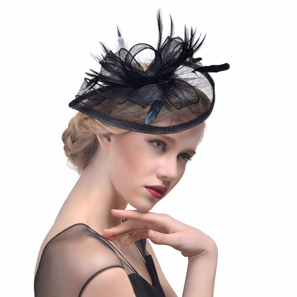 Women Wedding Hat Fascinator Feather Mesh Party Cocktail Headdress Hair Clip New