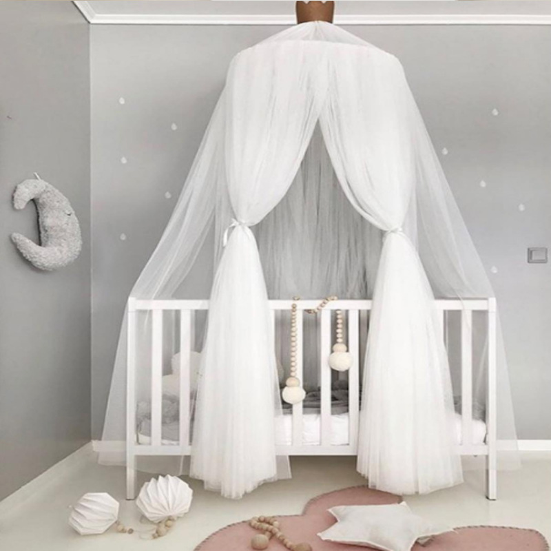 Pink Gray White Baby Girls Princess Bed Valance Palace Mosquito Net For Toddler Crib Canopy Infant