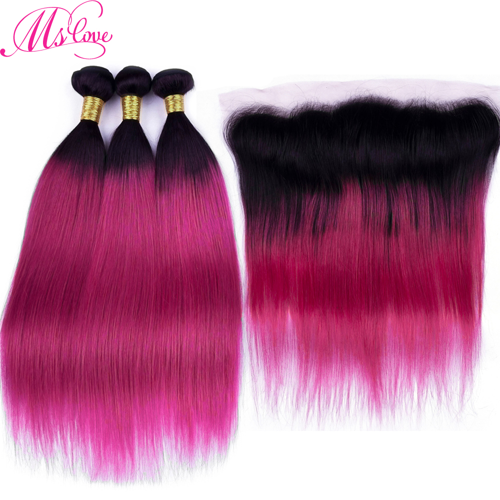 Ms Love Ombre Tb/Red Burgundy Brazilian Hair Bundles With Frontal 13*4 100% Remy Human Hair Straight With Lace Frontal