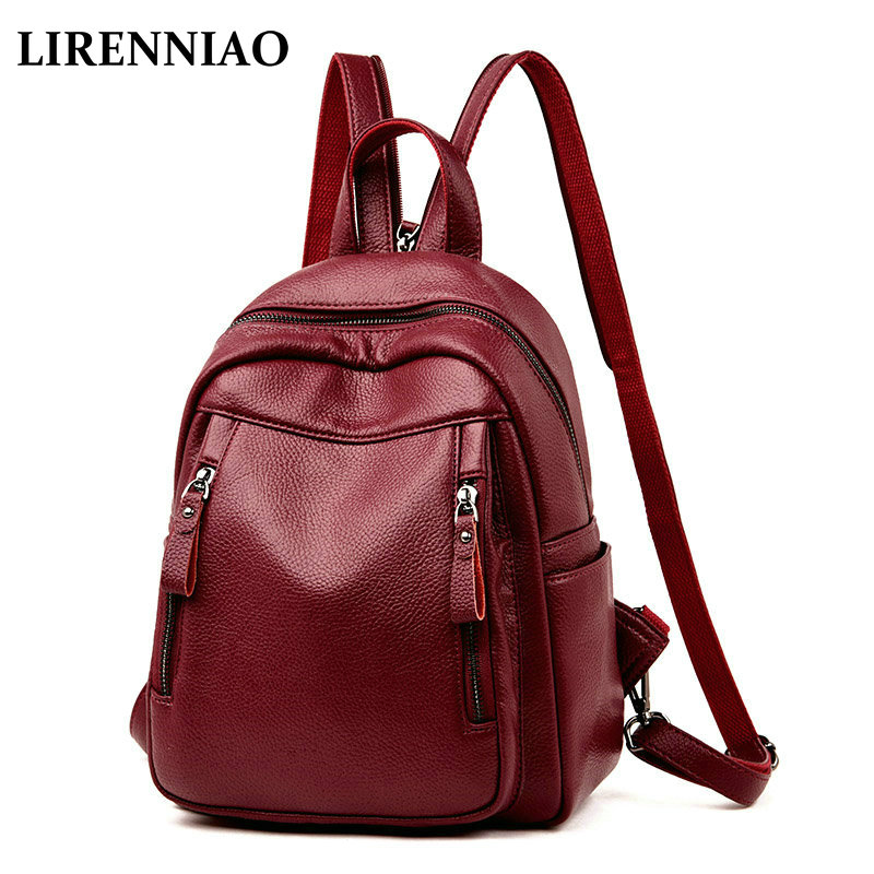 53ecad1c4e LIRENNIAO Fashion Designer Women Genuine Leather Backpack Shoulder School  Bags for Teenagers Travel Cowhide Female Knapsack