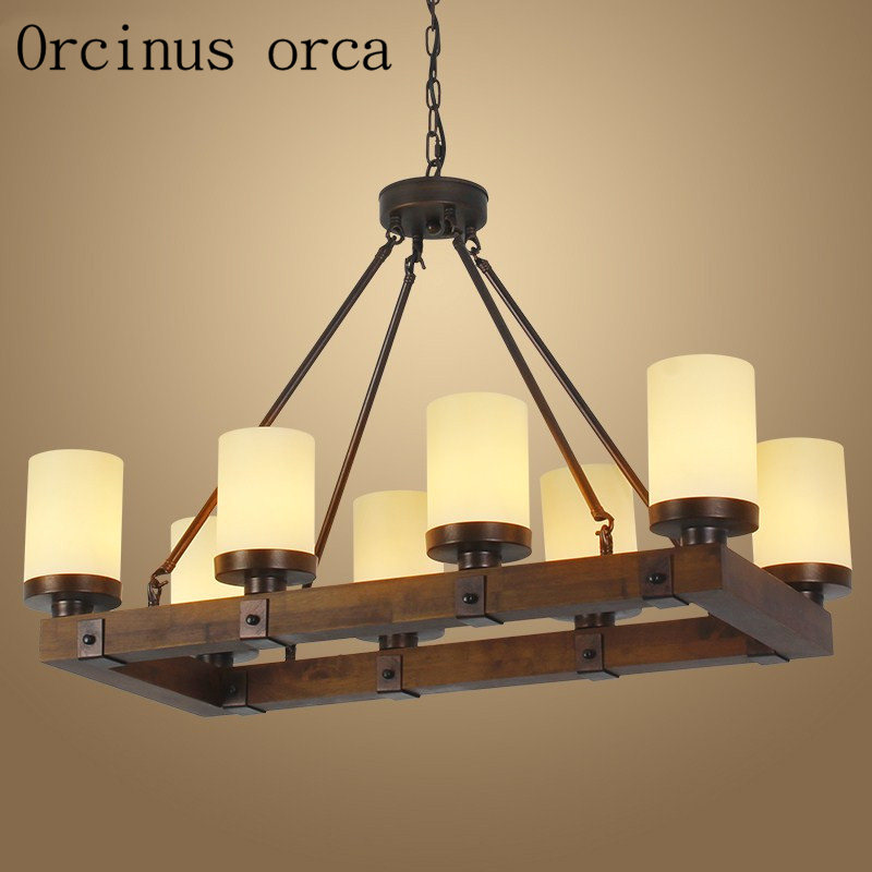 American country creative Candlestick chandelier Restaurant Bar retro industrial wind antique wooden rectangular chandelier american country villa living room chandelier candlestick round old wooden chandelier retro creative free shipping