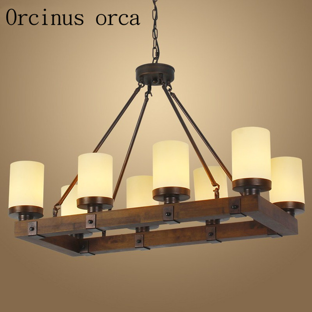 American country creative candlestick chandelier restaurant bar retro industrial wind antique wooden rectangular chandelier