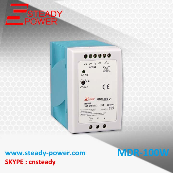 (MDR-100-24)100W Switching Power Supply 24V 4A Meanwell style Single Output Industrial DIN RAIL LED Driver compact size mdr 100 24 din rail led driver 100w 24v output dc dinrail power supply