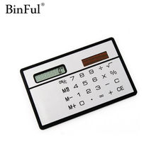 Calculatrice portable BinFul mini calculatrice de papeterie de carte ultra-mince portable petite calculatrice de poche de voyage mince à énergie solaire(China)