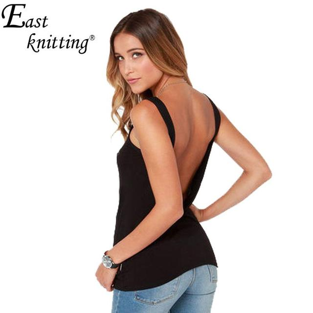 4f4f70deefc37 E85 Summer Style Backless Camis Back Deep V Tank Top Sexy Vest Sleeveless  Slim Tops