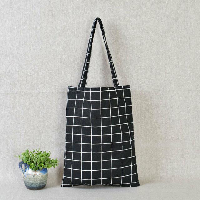 Women Casual Plaid  Linen Cotton Canvas Shopping Shoulder Bags Tote Bags Tote 4