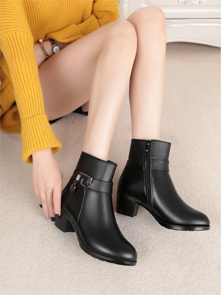Winter Shoes Snow-Boots Large-Size Genuine-Leather Women Wool Lined Thick