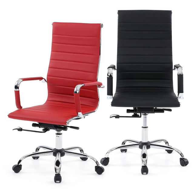 iKayaa US Stock Office Executive Chair Stool PU Leather Adjustable Swivel High Back Computer Task Office Furniture