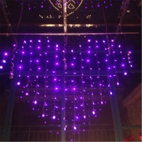Pink Purple Romantic Heart LED Wedding Curtain Lights Christmas Window Decorations For Home Room Shop H
