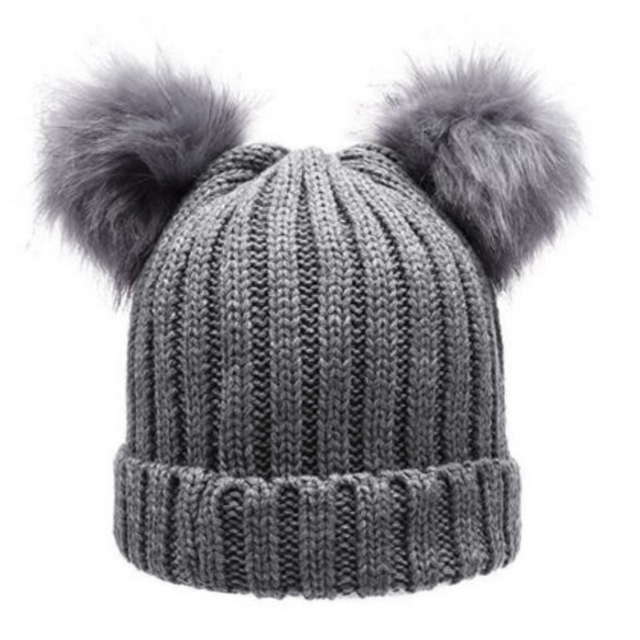 92ff5cf3d US $4.54 9% OFF|Women Fashion Winter Chunky Knit Double Fur Pom Pom Beanie  Faux Fur Hat Women Wool Snow Beanie Bobble Cap Pompom Beanies Gorros-in ...