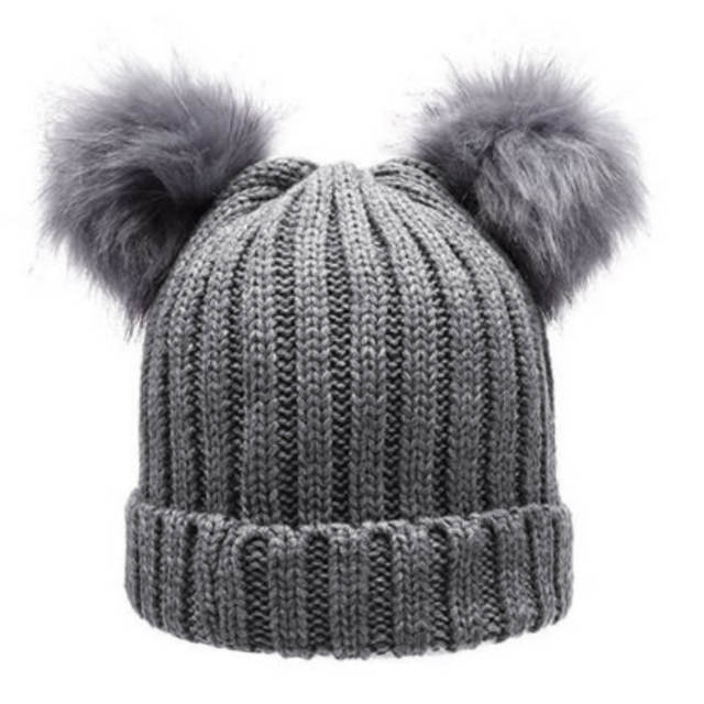90e5728d1 Women Fashion Winter Chunky Knit Double Fur Pom Pom Beanie Faux Fur Hat  Women Wool Snow Beanie Bobble Cap Pompom Beanies Gorros