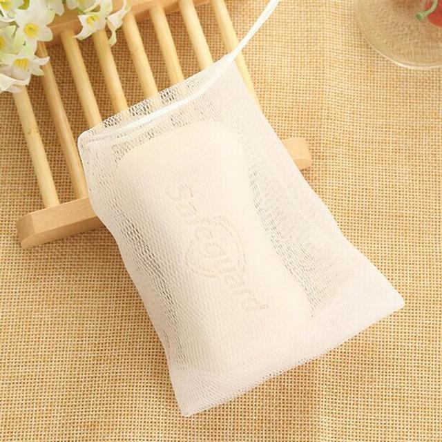 5pcs Exfoliating Mesh Soap Saver Pouch Bubble Foam Net Handmade Soap Mesh Bag Body Facial Cleaning Tool 3