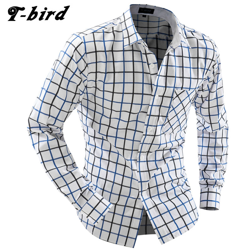 T-Bird 2018 Brand Men Long Sleeve Fashion Shirts Casual Male Slim Fit Polka Hit Color Plaid Mens Camisas Dress Shirts Men XXL
