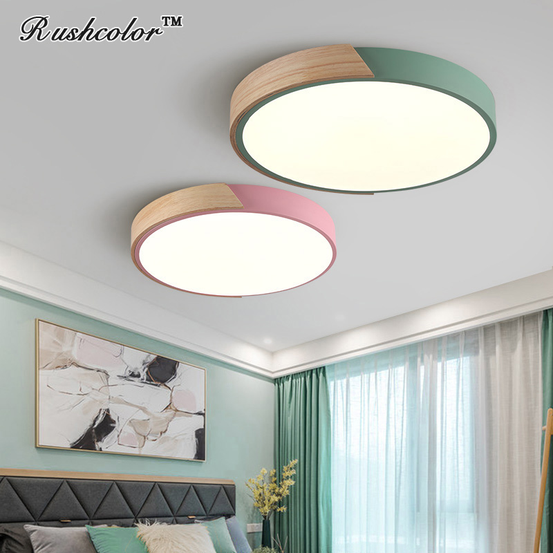 Ceiling Lights & Fans Modest Modern Macarons Led Ceiling Light With Wood Frame For Bedroom/kidroom Remote Control Dimming Indoor Lighting Packing Of Nominated Brand Ceiling Lights