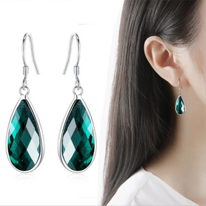 LUKENI Trendy Gold Crystal Green Water Drop Earrings For Women Jewelry Fashion Silver 925 Girl Earrings Ladies Party Accessories