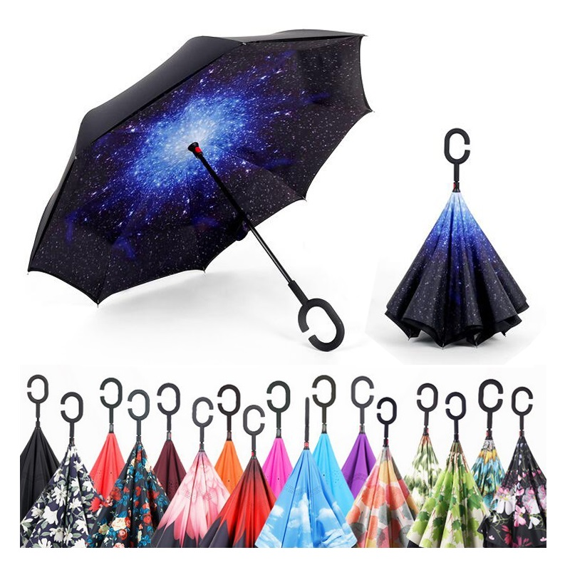 newest b0e66 3af9a Creative Graphic Strong Windproof Reverse Folding Double Layer Inverted  Umbrella Self Stand Inside Out Rain Sun Umbrella C-Hook