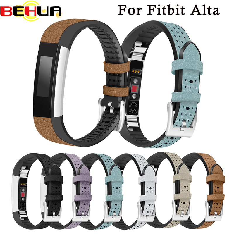 Luxury Genuine Leather + TPU Watch Band Strap Bracelet For Fitbit Alta/ Alta hr Watchband Replacement High Quality Watchbands