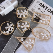 Korea Hair Accessories Flower Pearl Clips For Girls Crystal Bows  Geometric Barrette Hairgrips