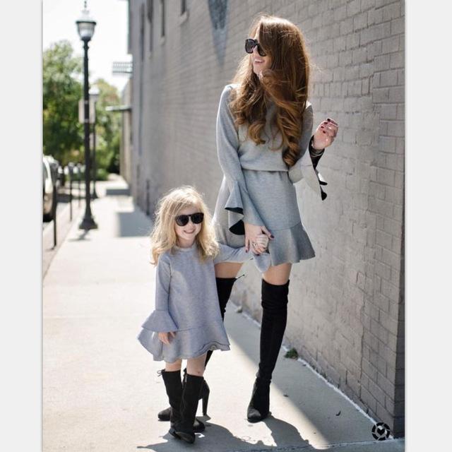 7fe230ccc90f Mother Daughter Dresses Autumn Winter Family Matching Outfits New Fashion  Long Sleeve Family Look Matching Mom Daughter Clothes