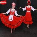 Tradicional ruso dress costume mujeres maxi vestidos trajes de danza nacional de rusia roja larga dress