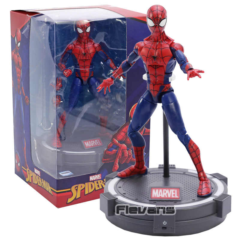 Lendas Marvel Spiderman The Amazing Spider-Man PVC Action Figure Collectible Modelo Toy com Luz