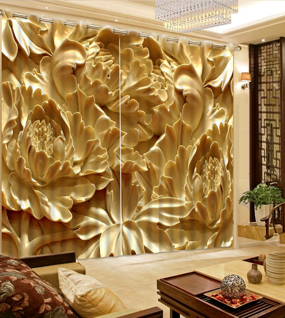 Custom Blackout 3D Chrysanthemum Curtains Paint Photo 3D Sheer Curtains For Living Room Bedroom Luxury Kitchen Curtains