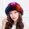Rainbow Real Fur Hat Winter For Women's Natural Mink Fur With Fox Fur Caps Luxury Trendy New  Russian Sun Knitting Princess Hat
