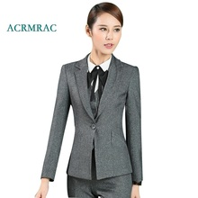 ACRMRAC Women's suits 2018 New Spring and autumn Solid color gray Slim Blazers pants Business OL Formal Pants Suits