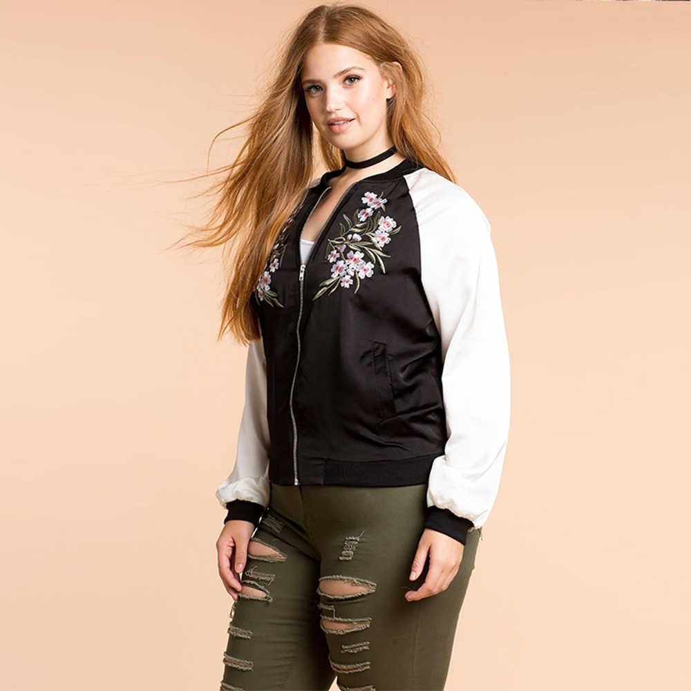 f034f0c29b58 ... Kissmilk/Модная женская одежда больших размеров, Повседневная Верхняя  одежда с вышивкой в консервативном стиле ...